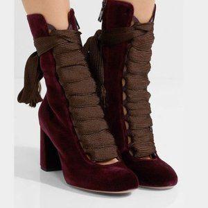 Chloe Harper Bordeaux Velvet Lace Up Boots 39